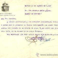 Cartas comerciales: BANCO CENTRAL - AÑO 1947. Lote 24681613