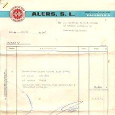 Cartas comerciales: ALERS, S.L. - VALENCIA - AÑO 1969 - INCLUYE GARANTÍA DE HISPANO VILLIERS S.A. - SON VARIOS PAPELES. Lote 24713631
