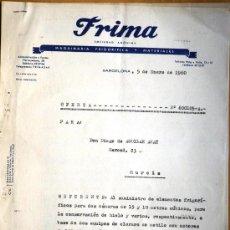 Cartas comerciales: FRIMA MAQUINARIA FRIGORIFICA Y MATERIALES - BARCELONA AÑO 1960 - OFERTA. Lote 24736120