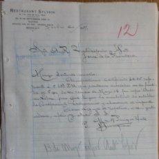 Cartas comerciais: CARTA COMERCIAL. MEXICO (MEXICO). JULIO 1927. RESTAURANT SYLVAIN. M. Y M. PUIG DE VALL, PROP.. Lote 25717472
