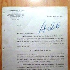 Lettere commerciali: CIRCULAR. MEXICO (MEXICO). MAYO 1924. L. TURANZAS S. EN C. IMPORTADORES DE VINOS.. Lote 25815113