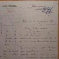Cartas comerciales: CARTA COMERCIAL. ZARAGOZA. ENERO 1916. LUIS DOMINGO. COMISIONES Y REPRESENTACIONES.. Lote 26153003