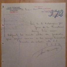 Cartas comerciales: CARTA COMERCIAL. ZARAGOZA. ENERO 1916. LUIS DOMINGO. COMISIONES Y REPRESENTACIONES.. Lote 26153023