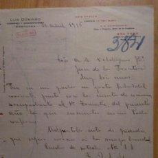 Cartas comerciales: CARTA COMERCIAL. ZARAGOZA. ABRIL 1916. LUIS DOMINGO. COMISIONES Y REPRESENTACIONES.. Lote 26153061