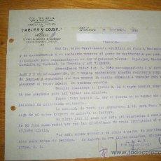 Cartas comerciales: EL TURIA, FABRICA DE JABONES DE CARLES Y COMPAÑIA. VALENCIA 1916.. Lote 26376414