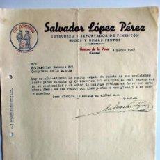 Cartas comerciales: CARTA COMERCIAL. CUACOS DE LA VERA. CACERES. MARZO 1947. SALVADOR LOPEZ PEREZ. COSECHERO EXPORTADOR.. Lote 26530400