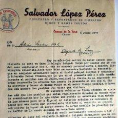 Cartas comerciales: CARTA COMERCIAL. CUACOS DE LA VERA. CACERES. JUNIO 1947. SALVADOR LOPEZ PEREZ. COSECHERO EXPORTADOR.. Lote 26530416