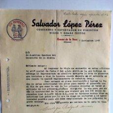 Cartas comerciales: CARTA COMERCIAL. CUACOS DE LA VERA. CACERES. NVBRE.1946. SALVADOR LOPEZ PEREZ. COSECHERO EXPORTADOR.. Lote 26530429