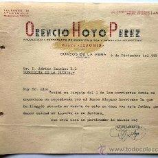 Cartas comerciales: CARTA COMERCIAL. CUACOS DE LA VERA. CACERES. DCBRE.1958. ORENCIO HOYO PEREZ. PRODUCTORY EXPORTADOR.. Lote 26530501