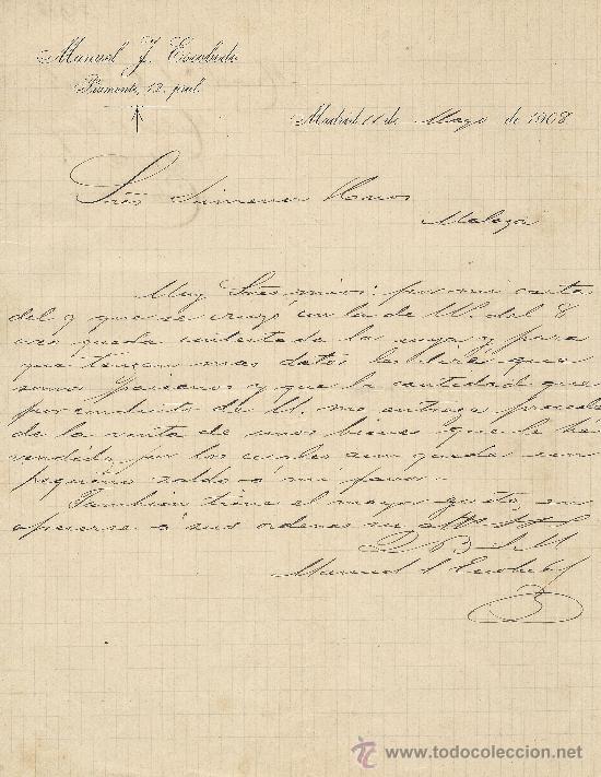 Madrid 11 De Mayo De 1908 Carta Comercial Manuel J Escobedo