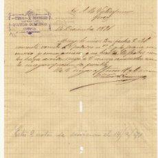 Cartas comerciales: 14 DE DICIEMBRE DE 1891.CARTA COMERCIAL VICTOR DOMINGO. CUENCA. Lote 26728087