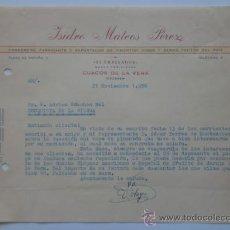Cartas comerciales: CARTA COMERCIAL. CUACOS DE LA VERA. CACERES. NOVBRE 1956. ISIDRO MATEOS PEREZ. EXPOTADOR DE PIMENTON. Lote 26726715