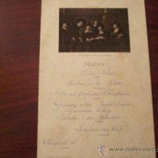 Cartas comerciales: CARTA DE MENU FRANCESA -CARTE DE MENU CAFÉ DE PARIS ARMENONVILLE 5 DE OCTUBRE 1916. Lote 26912269