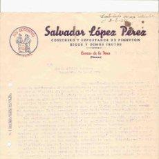 Cartas comerciales: ESPAÑA. CACERES. CUACOS DE LA VERA. CARTA. SALVADOR LOPEZ PEREZ. COSECHERO Y EXPORTADOR. 1946.. Lote 27244200