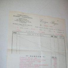 Cartas comerciales: NOTA DE LOS DERECHOS PAGADOS POR EL DESPACHO 1 BULTO-PROCEDENTE DE ALCOY A BUENOS AIRES-1920. Lote 27963663
