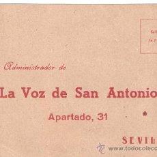 Cartas comerciales: TARJETA COMERCIAL LA VOZ DE SAN ANTONIO PARA PEDIDO DEL DEVOCIONARIO NTRA SRA DE FATIMA SEVILLA. Lote 27830180