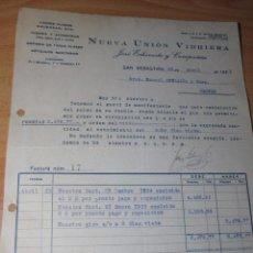 Cartas comerciales: SAN SEBASTIAN - 1935 - FACTURA NUEVA UNION VIDRIERA A ORENSE - FOLIO. Lote 28547761