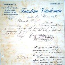 Cartas comerciales: GIRONELLA 1917 CARTA ESCRITA POR COMERCIO DE COMPRA VENTA FAUSTINO VILADOMIU. Lote 28732006