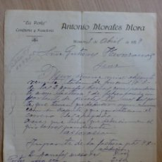 Cartas comerciales: CARTA COMERCIAL. MONTORO, CORDOBA. ABRIL 1927. ANTONIO MORALES MORA. LA PERLA, CONFITERIA PASTELRIA.. Lote 28746246