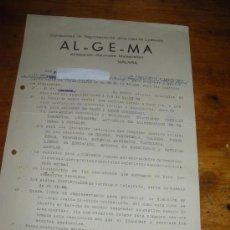 Cartas comerciales: ALGEMA, ALMACENES GENERALES MALAGUEÑOS, CONTRATO DE REPRESENTACION. 17 ABRIL 1939, FIN GUERRA CIVIL.. Lote 28764229
