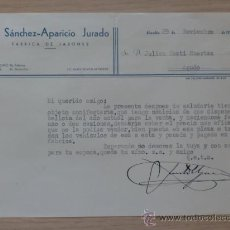 Cartas comerciales: CARTA COMERCIAL. C. REAL. ALMADEN. NOVBRE 1952. J.SANCHEZ-APARICIO JURADO. FABRICA DE JABONES.. Lote 28789708
