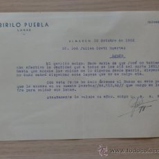 Cartas comerciales: CARTA COMERCIAL. C. REAL. ALMADEN. OCTUBRE 1952. BIRILIO PUEBLA. LANAS.. Lote 28789752