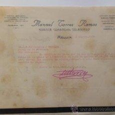 Cartas comerciales: CARTA COMERCIAL. ALBACETE. HELLIN. SEPBRE 1934. MANUEL TORRES RAMOS. AGENTE COMERCIAL COLEGIADO.. Lote 28891543
