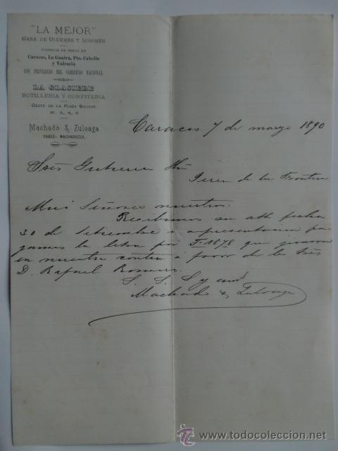 CARTA COMERCIAL. VENEZUELA. CARACAS. MARZO 1890. MACHADO Y ZULOAGA. LA MEJOR, VIVERES Y LICORES. (Coleccionismo - Documentos - Cartas Comerciales)