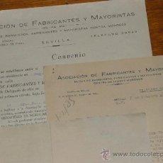 Cartas comerciales: ASOCIACION DE FABRICANTES Y MAYORISTAS, CONVENIO CONTRATO. SEVILLA 1935. SEGUNDA REPUBLICA.. Lote 28907238