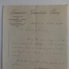 Cartas comerciales: CARTA COMERCIAL. MADRID. ENERO 1924. FRANCISCO GUARDIOLA PEREZ. AGUARDIENTES Y LICORES.. Lote 29039262