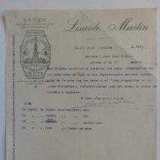 Cartas comerciales: CARTA COMERCIAL. MADRID. GETAFE. OCTBRE 1927. LISARDO MARTIN. LA IDEA, FABRICA DE LICORES.. Lote 29039372