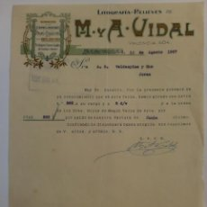 Cartas comerciales: CARTA COMERCIAL. BARCELONA. AGOSTO 1927. M. Y A. VIDAL. LITOGRAFIA-RELIEVES.. Lote 29100275