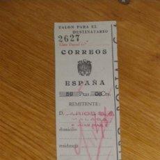 Cartas comerciales: LARIOS SA MALAGA. RESGUARDO DE GIRO POSTAL. CORREOS.. Lote 29094850