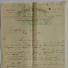 Cartas comerciales: CARTA COMERCIAL. CUBA. HABANA. ABRIL 1900. CANDIDO LOPEZ Y CIA. EL VALLE DE ANDORRA. LICORES.. Lote 29108321