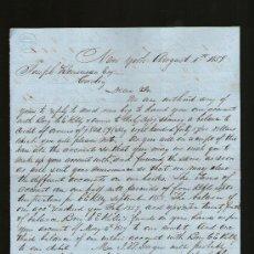 Cartas comerciales: CARTA COMERCIAL. NEW YORK. FACTURA NO PAGADA. NEGOCIOS Y CUENTAS. 1859. VER. . Lote 29393859