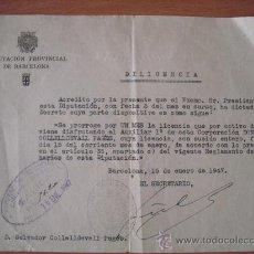Cartas comerciales: DIPUTACIÓN PROVINCIAL DE BARCELONA - FIRMADO POR EL SECRETARIO - AÑO 1947 - 21,5 X 16 CM. Lote 29333637