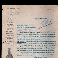 Cartas comerciales: CARTA COMERCIAL. PACHUCA, MEXICO. MAQUIVAR Y CIA. ALMACEN HIERRO, ABARROTES... VINO OPORTO. 1926.. Lote 29427435