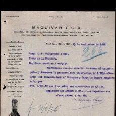 Cartas comerciales: CARTA COMERCIAL. PACHUCA, MEXICO. MAQUIVAR Y CIA. ALMACEN HIERRO, ABARROTES... VINO OPORTO. 1926.. Lote 29427438