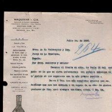 Cartas comerciales: CARTA COMERCIAL. PACHUCA, MEXICO. MAQUIVAR Y CIA. ALMACEN HIERRO, ABARROTES... VINO OPORTO. 1926.. Lote 29427449
