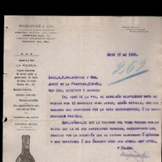 Cartas comerciales: CARTA COMERCIAL. PACHUCA, MEXICO. MAQUIVAR Y CIA. ALMACEN HIERRO, ABARROTES... VINO OPORTO. 1926.. Lote 29427458