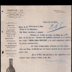 Cartas comerciales: CARTA COMERCIAL. PACHUCA, MEXICO. MAQUIVAR Y CIA. ALMACEN HIERRO, ABARROTES... VINO OPORTO. 1926.. Lote 29427463