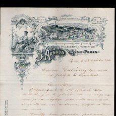 Cartas comerciales: CARTA COMERCIAL. LYON, FRANCIA. B. ARNAUD. ETABLISSEMENTS LITHOGRAPHIQUES. 1910.. Lote 29428094