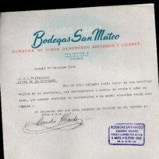 Cartas comerciales: CARTA COMERCIAL. MADRID. BODEGAS SAN MATEO. ALMACEN VINOS GENEROSOS ANISADOS Y LICORES. 1956.. Lote 29434751
