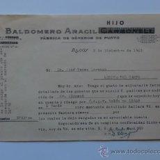 Cartas comerciales: CARTA COMERCIAL. ALCOY. DICIEMBRE 1942. BALDOMERO ARACIL, HIJO. FABRICA DE ENEROS DE PUNTO.. Lote 29767668