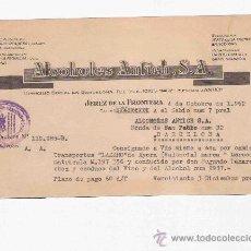 Cartas comerciales: CARTA COMERCIAL. ALCOHOLES ANTICH, S.A.JEREZ DE LA FRONTERA. 1962. . Lote 30523419