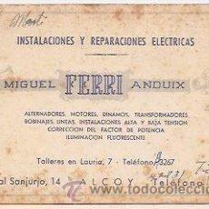 Cartas comerciales: TARJETA PUBLICITARIA DE FERRI. ELECTRICIDAD. ALCOY (ALICANTE). Lote 30538345
