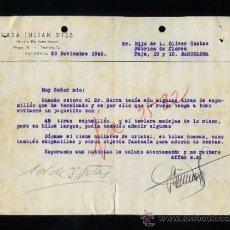 Cartas comerciales: PALENCIA. *CASA JULIAN DIEZ* FECHADA 1945.. Lote 30759436