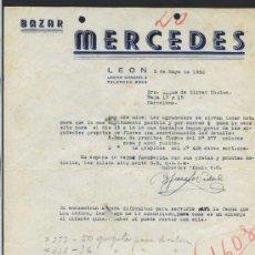 Cartas comerciales: LEÓN. *BAZAR MERCEDES. CALLE LEGIÓN CONDOR 4...* FECHADA 1952.. Lote 30759801