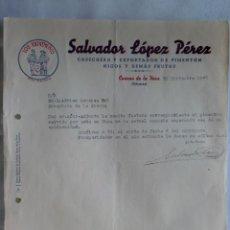 Cartas comerciales: CARTA COMERCIAL. CUACOS DE LA VERA, CACERES. DICBRE 1946. SALVADOR LOPEZ PEREZ. COSECHERO PIMENTON.. Lote 30835462