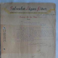 Cartas comerciales: CARTA COMERCIAL. CUACOS DE LA VERA, CACERES. ENERO 1944. SALVADOR LOPEZ PEREZ. COSECHERO PIMENTON.. Lote 30835477